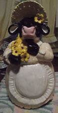 Adorable Hand Painted Ceramic Cookie JarCow In Dress,Apron, and Bonnet w/Bouquet