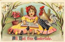 EASTER HOLIDAY GIRL FLOWERS MUSIC BOOK & ROOSTER GEL COATED POSTCARD (c. 1910)