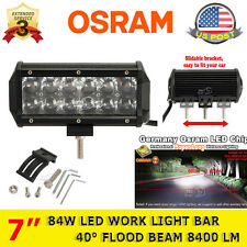 New 7Inch 84W OSRAM Led Light Bar Flood Work Light 4WD ATV Off-road Driving Lamp