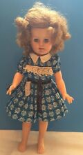 """1957 Ideal Shirley Temple Doll 15"""" Vinyl in Tagged Blue Dress"""