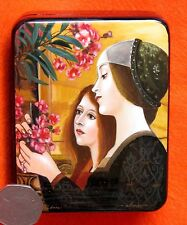 Russian SMALL hand made repro LACQUER Box Klimt Two Girls with Oleander detail