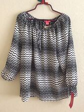 Sunny Leigh Woven Top Blouse Shirt Tunic Black White Striped XL X-Large #O0716