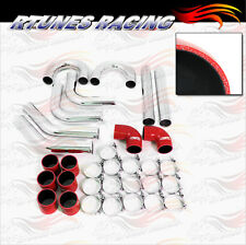 "RED 3"" Inches 76mm Turbo Supercharger Intercooler Polish Pipe Kit For Mitsubishi"