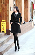 Black M Women Thicken Warm Winter Woolen Trench Coat Parka Overcoat Long Jacket