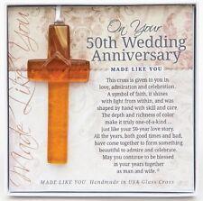 The Grandparent Gift 50th Anniversary Gift Handmade Glass Cross, New, Free Shipp