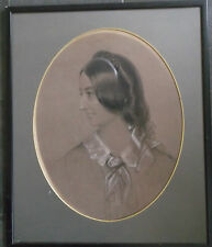 FRAMED VICTORIAN GRAPHITE DRAWING A PORTRAIT STUDY OF A PRETTY LADY