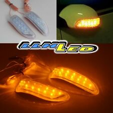 2 x Car Soft Strip Yellow/Amber 13 LED Rearview Mirror Turn Signal Lights New