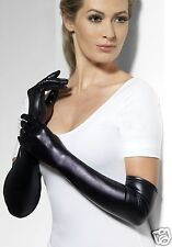 Long Black Wet Look Gloves Lycra Sexy Miss Whiplash Fancy Dress Costume Gloves
