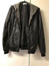 Men's Black  Leather Jacket/coat With Hood Top man Uk S