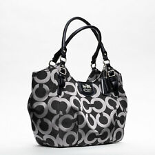AUTH COACH MADISON ABIGAIL OP ART TOTE BAG PURSE 18639 GUNMETAL/BLACK$358 RARE