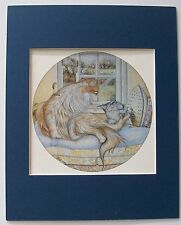 Cat Print Zoe Stokes December Washday Colored Bookplate 1982 8x10 Blue Matted