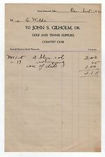 1922 NEW BEDFORD COUNTRY CLUB Invoice JOHN GILHOLM Golf Tennis GOLFING Supplies