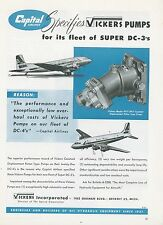 1951 Vickers Pump Ad Capital Airlines Douglas DC-3 & DC-4 Airplanes Aviation