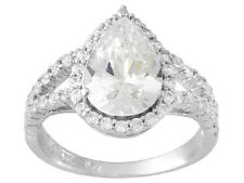 NEW JTV Bella Luce 6.20ctw Pear Shape & Round Rhodium Plated 925 Sterling Size 8
