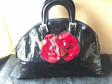 Most Gorgeous RENATO ANGI Floral Embellishment Black Patent Leather Bag