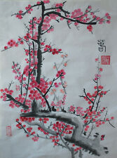 Oridental art Hand Paint Chinese  watercolor painting red plum blossom signed