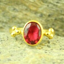 Handmade Hammered Oval Ruby Stack Ring 24K Gold Over Sterling Silver