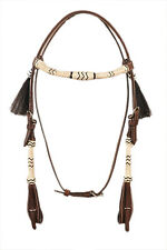 Western Dark Oil Natural & Black Rawhide Braided With Black Tassel Headstall