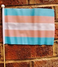 "TRANSGENDER Polyester medium HAND WAVING FLAG 9""X6"" 22.5cm x 15cm GAY PRIDE"