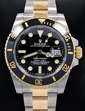 Rolex Two Tone Submariner 116613LN 18K Yellow Gold & SS Black Ceramic Bezel MINT