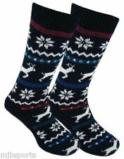 MENS FAIRISLE WINTER SOCKS REINDEER AND SNOWFLAKE SLIPPER SOCKS NON SLIP SOLES