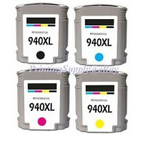 4PK New High-Yield BK & Color Ink With Chip For HP 940XL OfficeJet Pro 8000 8500