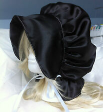 victorian edwardian adult baby fancy dress black satin bonnet cap hat sissy maid