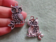 2 Tibetan silver charm large owl pendant antique jewellery making craft uk