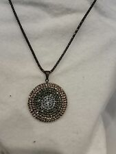 Tri Colored Crystal Encrusted 35mm Circle Pendant 16 Inch Black Necklace