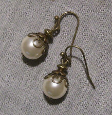 BRASS BRONZE FILIGREE WHITE GLASS PEARL BALL DROP EARRINGS VICTORIAN BOHO TUDOR