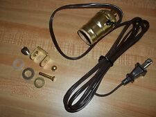 "Lamp Light Making Kit, 5' 8"" Cord, Push Switch Socket Clamp Parts Gold Tone, USA"