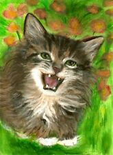 BCB Maine Coon Cat Happy Kitten Original Painting ACEO