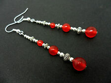 A PAIR TIBETAN RED JADE BEAD  EXTRA LONG DANGLY EARRINGS. NEW.