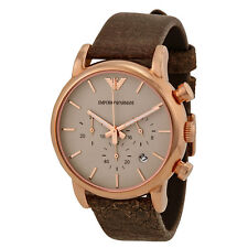 EMPORIO ARMANI ROSE GOLD TONE,BROWN EMBOSSED LEATHER BAND,CHRON. WATCH-AR1809