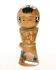 1950s JAPANESE VINTAGE WOOD KOKESHI DOLL w/ REVERED MT. FUJI & RIVER ON KIMONO !