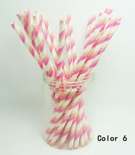 25 PCS Colorful Diagonal Striped Paper Drinking Straws Wedding Birthday Color 6