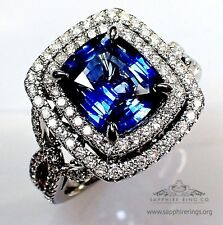 GIA Untreated 4.20 tcw Blue Cushion Cut Natural Sapphire & Diamond Platinum Ring