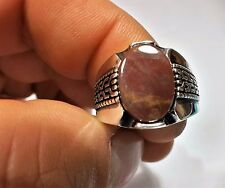 Turkish Ottoman Natural Emerald Agate Gemstone 925 Sterling Silver Men Ring 3