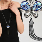 Women Long Chain Necklace Animal Blue Crystal Jewelry Butterfly Necklaces