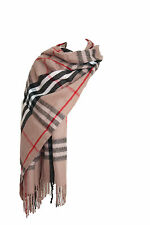 Womens Ladies Oversized Wool Scarf Shawl Pashmina Wrap Beige Camel Tartan Check