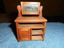 WOOD DOLL HOUSE DRESSER WITH REAL ROTATING TILT GLASS MIRROR SHACKMAN ITEM 1970