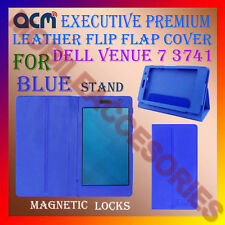 ACM-EXECUTIVE LEATHER FLIP CASE for DELL VENUE 7 3741 TAB COVER STAND NEW - BLUE