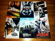 "THE FAST AND FURIOUS SET OF 6 PP SIGNED 12""X8"" POSTERS VIN DIESEL & PAUL WALKER"