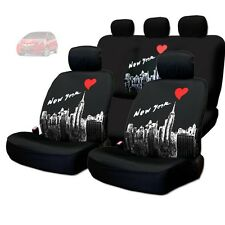 NEW BLACK FABRIC NEW YORK SKYLINE FRONT AND REAR CAR SEAT COVERS SET FOR HONDA