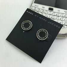 HOT SALE MARC BY MARC JACOBS CLASSIC SILVER LETTERS BLACK DISC EARRINGS #E0018