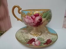 UNUSUAL WILLETS BELLEEK HAND PAINTED ROSES LARGE CUP/SAUCER