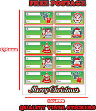 CHRISTMAS PRESENT LABELS SANTA CLAUS GIFT WRAP TAGS TO AND FROM STICKER GREEN