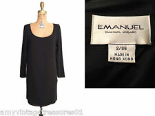 Emanuel Ungaro Little Black  Dress-Vertical Layer Wrap Style-Sz 2/36