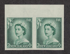 New Zealand Sc 291 var MNH. 1953 2p QEII, imperf horizontal sheet margin pair