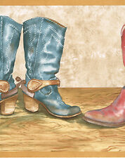 "COUNTRY WESTERN COWBOY BOOTS RED BLUE BROWN 13"" WIDE Wallpaper bordeR Wall"